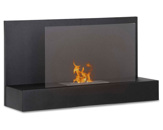 Moda Flame - Mira Wall Mounted Ethanol Fireplace - Black - With a simple yet chic design, the Mira wall mounted modern fireplace has a fine all around steel body with a tempered glass sheet to act as a barrier from the real dancing flame.