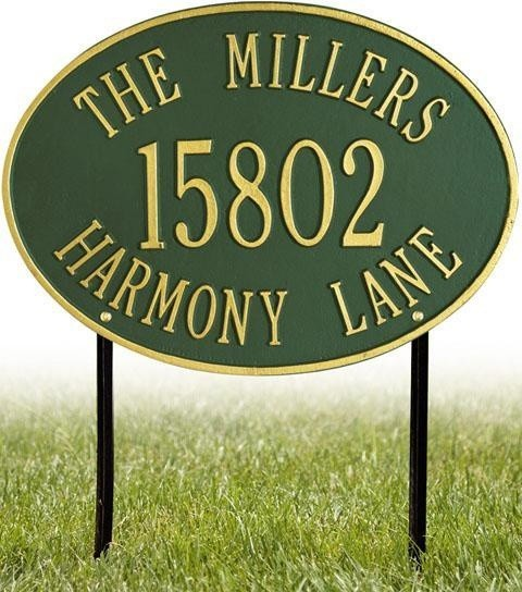 Hawthorne Three-Line Estate Lawn Address Plaque traditional-patio-furniture-and-outdoor-furniture