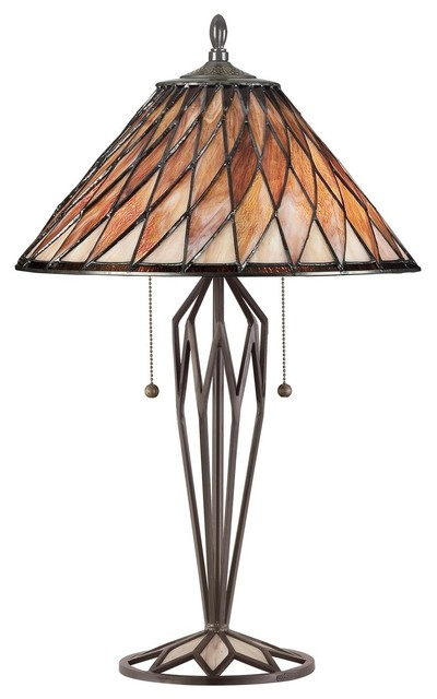 "Quoizel Roslyn Tiffany 27"" 2-Light Table Lamp in Vintage Bronze Finish table-lamps"