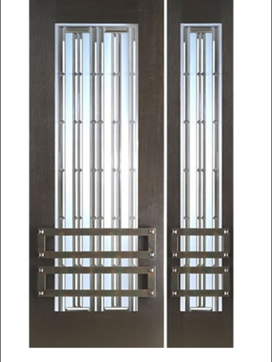 """AAW Inc. - Contemporary Entry Door Model NW-1645 - Model NW-1645 from our New World Collection. Door is solid Mahogany, 2-1/4"""" thick with decorative glass and  iron work on the outside."""