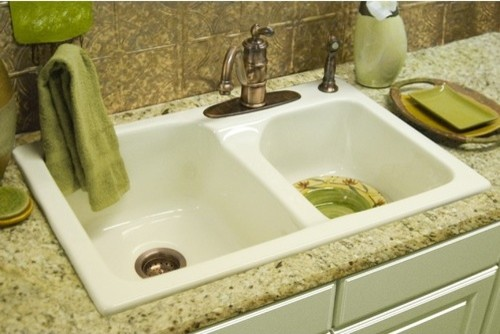 Advantage Providence 60/40 Double Bowl Self Rimming Kitchen Sink modern-bath-products
