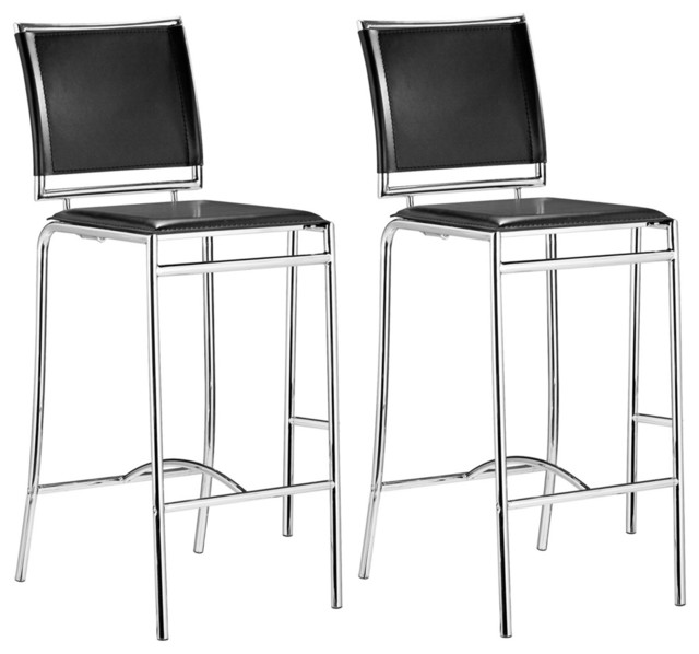 "Set of 2 Zuo Soar Black 28 1/2"" High Bar Stools contemporary-bar-stools-and-counter-stools"