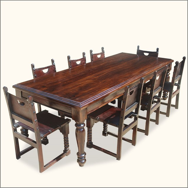 108 rustic solid wood dining room table w 8 leather for All wood dining room sets