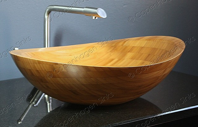 ... Natural Eco Green Bamboo Bathroom Vessel Sink modern-bathroom-sinks