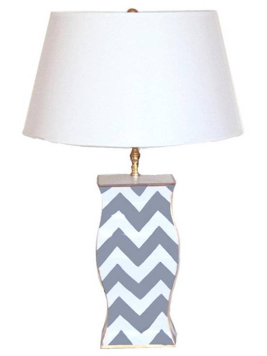 Gray Bargello Lamp -