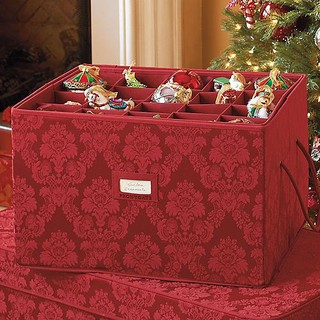 Red damask christmas ornament storage box traditional for Xmas decoration storage boxes