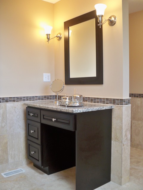 travertine master bath with double vanity makeup vanity