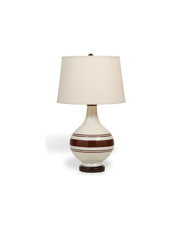 Ridgewood Brown Lamp - The modern organic shape and classic striped pattern in brown and cream makes this neutral lamp a standout for its style. Off white, Hardback shade with nickel spider.