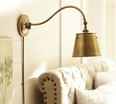 CFL Walker Metal Sconce, Antique Brass finish traditional