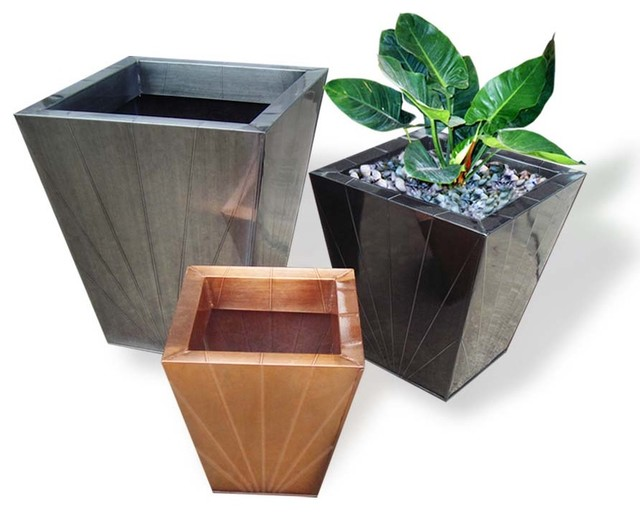 Zinc flower pots asian-outdoor-pots-and-planters