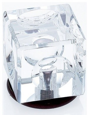 OIL RUBBED BRONZE FINISH 31\% LEADED CRYSTAL 30MM SQUARE KNOB