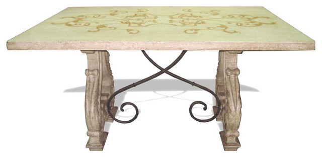 blythe dining table antiqued gray and cream with