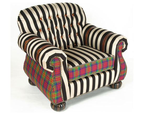 "Courtly Campaign Club Chair | MacKenzie-Childs - Plush and comfortable, this piece redefines what comes to mind when you hear the term ""Club Chair."" The Courtly Campaign Club Chair is upholstered in a bold black and taupe stripe juxtaposed against our 100% wool jewel-tone MacKenzie Tartan, made especially for us in Scotland. The hand-tufted back is accented with leather-covered buttons, the chair arms feature classic leather strapping, and the entire frame rests on beautifully carved and fluted bun feet. Inject a sense of over-the-top style into your normally sedate library, den or sitting room with this updated classic and its companion ottoman. Eight-way, hand tied coil construction. Handcrafted in the US."