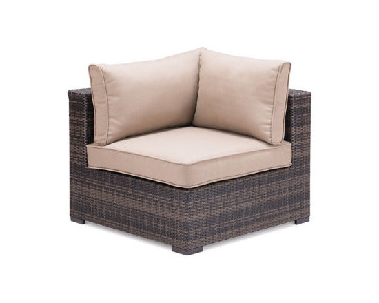 Grandin Road - Transparentwater Outdoor Corner Chair - Create a seating arrangement that perfectly suits your patio or deck space with our Clearwater Outdoor Sectional Collection. A long sofa, a comfy chaise, or a U-shaped enclosure for your firepit - the choice is yours! Each piece is sold individually so you can pick and choose. Plump cushions are included, and ensure that the retreat you design will be inviting. Outdoor seating collection comprised of Corner Chair, Middle Chair, Ottoman and Coffee Table, each sold separately . Chairs and Ottoman can be arranged in various configurations to suit your needs . Brown polyurethane over aluminum frames in a basketweave texture . Weather-resistant espresso cushions are included . Coffee Table features a tempered glass top . Imported .