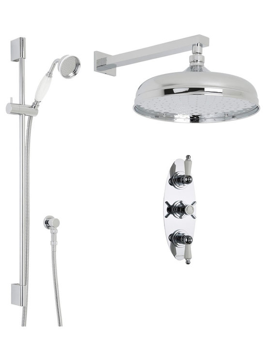 """Hudson Reed - Beaumont Thermostatic Shower System, 12 Apron & Wall Arm & Handset - Perfect for adding the finishing touches to your traditional bathroom, the Beaumont shower system from Hudson Reed comes complete with the 12 apron shower head with arm, slide rail kit with handset and the thermostatic triple shower valve.Incorporating an anti-scald device for a safer showering experience, the thermostatic shower valve has been constructed from solid brass in Great Britain. The shower valve also features ceramic disc technology for smooth control over the flow and temperature of the water. Hudson Reed Thermostatic Triple Shower Valve Details   Solid brass rough-in valve Made in Great Britain Serviceable check valves and strainers Ceramic Disc Technology Pre-set maximum temperature 104ºf Automatic anti scald device Recommended pressure for best performance 2 to 75 psi  ½ NPT Inlets and Outlets Compatible with standard US plumbing connections Compatible with combi boilers, gravity fed systems, unvented mains pressure systems and for shower pumps Warranty: 10 years  Hudson Reed 12 Apron Shower Head Details   IAPMO Approved 1/2 NPT inlets Chrome finish 9.5L/min 2.5gpm regulator installed Supplied with 14 arm  Hudson Reed Linear Slide Rail Details   Chrome finish IAPMO approved Easy to fix Includes large brass traditional handset  Shower Consists of:     UFG-HR721Triple Valve Body Only Concealed  UFG-HRPS704Triple Oval Trim Plate  UFG-HRH713Beaumont Crosshead Temperature Handle  UFG-HRH715Beaumont Flow Control Lever  UFG-HRSK701Linear Slider Rail Kit  UFG-HRFH70159"""" Double Lock  UFG-HRH1981/2 Double Check Valve Connector with DW15 Check Valves  UFG-HROE702Minimalist Outlet Elbow  UFG-HRHS705Large Brass Traditional Handset  UFG-HRSH705Apron Fixed Head 12""""  UFG-HRAM702Small Rectangular Arm 14"""""""