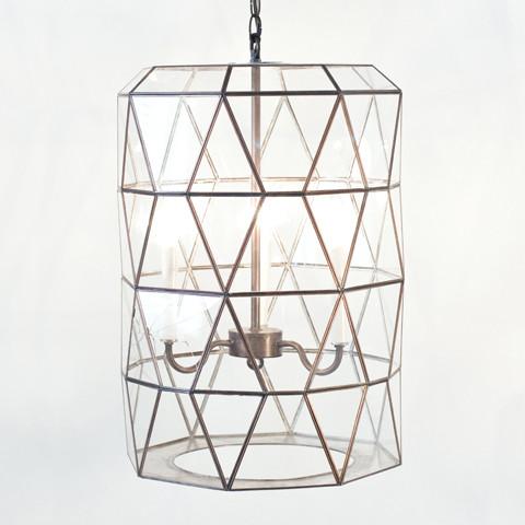 Clear Glass Lantern with 3 Light Cluster modern-pendant-lighting