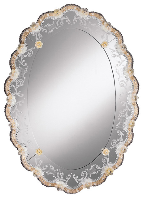 Oval Venetian Mirror With Gold Highlights Traditional Bathroom Mirrors