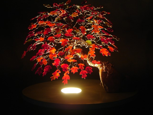 A stained glass red leaf maple bonsai tree contemporary