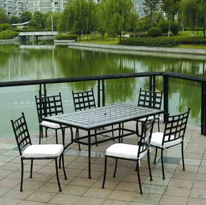 Outdoor Patio Furniture Mosaic Tiles Dining Table Chair Set TC012