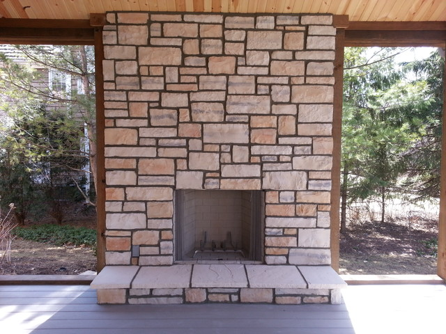 Natural Stone Veneer Fireplace Reface modern-indoor-fireplaces