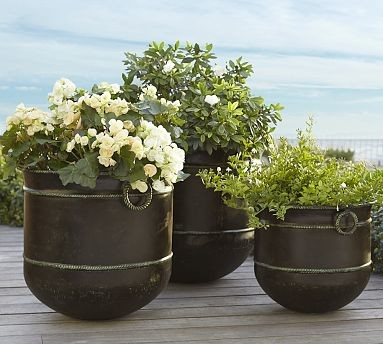Talmont Metal Planter Large Traditional Indoor Pots