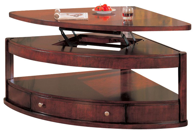 Coaster evans contemporary pie shaped lift top cocktail table with storage modern coffee Pie shaped coffee table