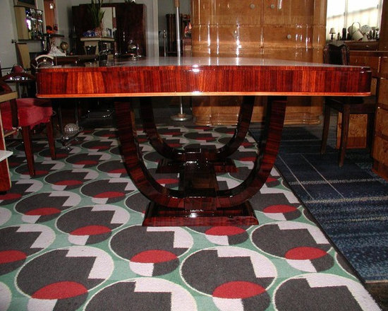 """East Indian Rosewood Ruhlmann design double """"U"""" base dining or conference table - Deco-Dence"""