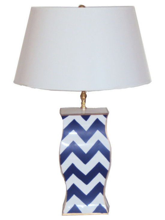 Navy Bargello Lamp -