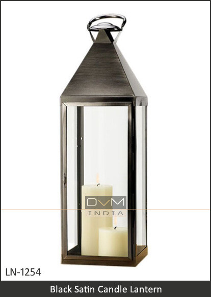 Tall Black Satin Candle Lantern