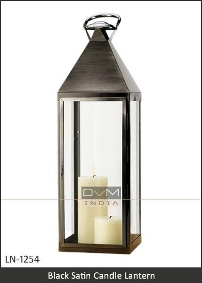 Tall Black Satin Candle Lantern