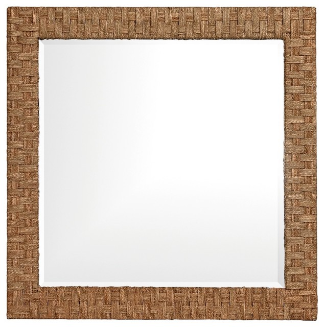"""Transitional Howard Elliott 35"""" Square Woven Seagrass Wall Mirror contemporary-mirrors"""