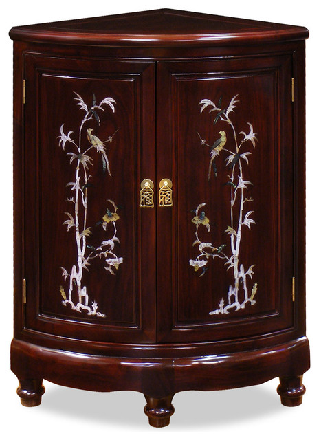 Rosewood Pearl Inlay Design Corner Cabinet - Asian - Furniture - by China Furniture and Arts