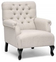 Baxton Studio Joussard Beige Linen Club Chair traditional armchairs