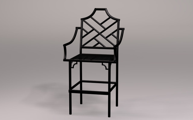 Chinese Chippendale Counter Stool With Arms Asian Bar