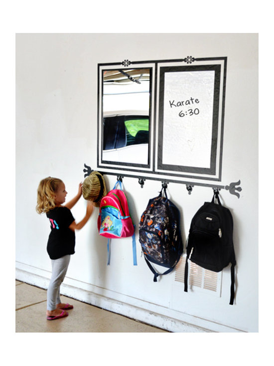 Writable Wall Decals - These kid-friendly wall stickers have a mirror, a whiteboard and hooks all in one piece!