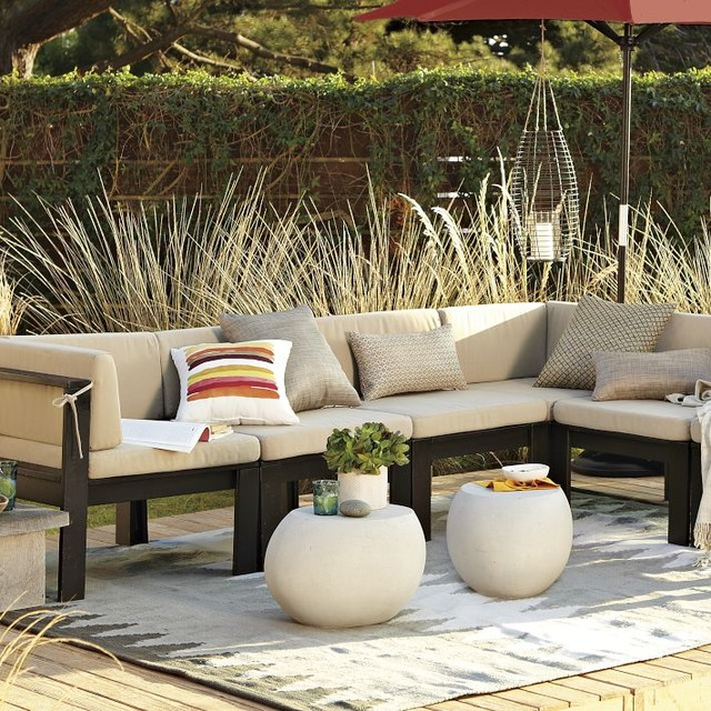 Wood Slat Sectional Outdoor Cushions Modern Outdoor