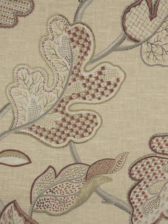 Phoebe Printed Large-scale Botanicals Linen Custom Made Curtains - Beautiful multi-colored and large-scale botanicals come fresh and alive against cream pure linen background, bold, whimsical, and full of sparkles of vitality.
