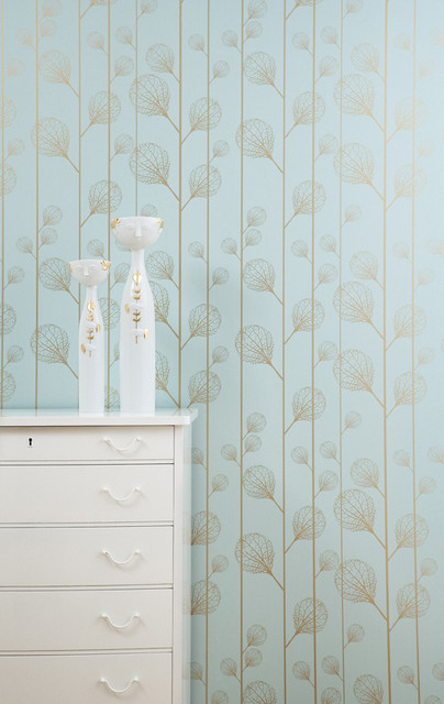 Ribbed Wallpaper (Turquoise/Gold) modern-wallpaper