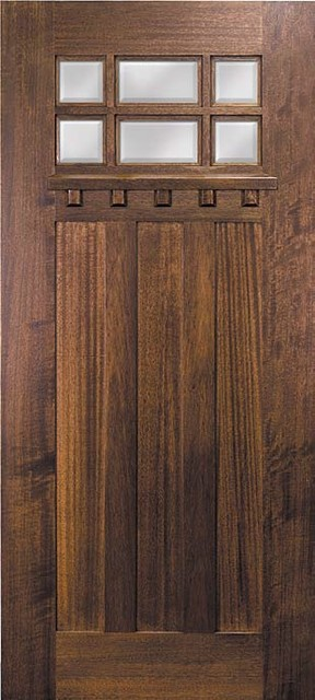 Slab entry single door 80 mahogany craftsman 3 panel 6 for Single front doors with glass