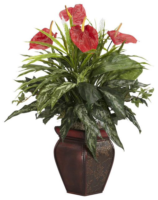 mixed greens anthurium with decorative vase silk plant contemporary artificial flowers