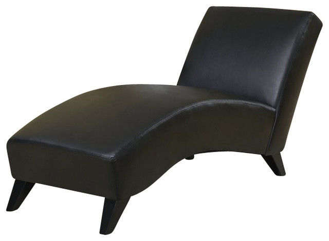R1999R Black Polyurethane Lounge Chaise Chair Contemporary Outdoor Chaise