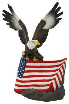 Bald Eagle and American Flag Wine Bottle Holder traditional-wine-racks