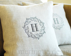 Branches Monogram Linen Pillow Cover by Meringue Designs traditional-decorative-pillows