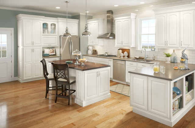 Grove Arch Painted Linen - Eclectic - Kitchen Cabinetry - other metro - by Shenandoah Cabinetry