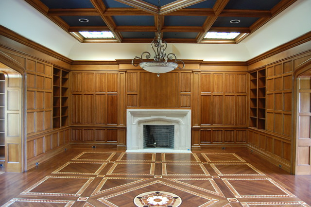 Custom parquet and wood inlay floor for Library - Traditional - other metro - by Czar Floors