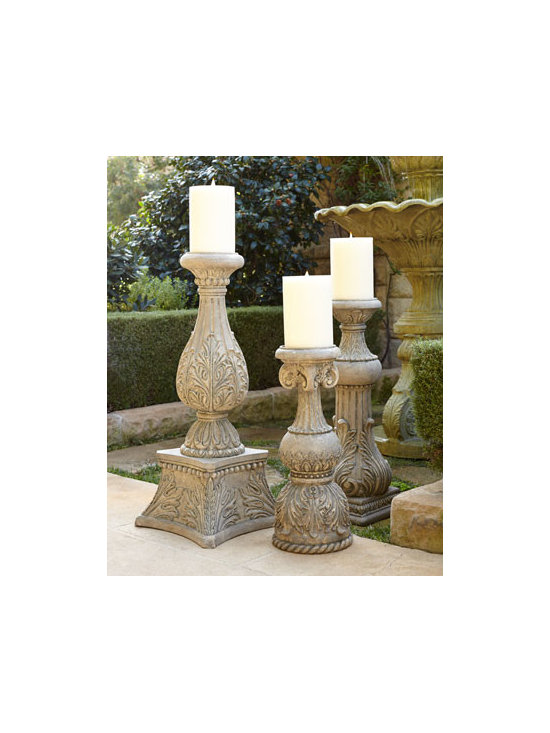 "GG Collection - GG Collection 24""T Cast-Stone Candlestick - A medley of acanthus-leaf, fluted, and beaded detailing, these impressive candlesticks let you add the ambiance of candlelight to any setting. Handcrafted of cast stone. Hand-painted finish. 24""T candlestick, 10""Dia. Boxed weight, approximately 18 lbs. 30""T candlestick, 12""Sq. Boxed weight, appr"