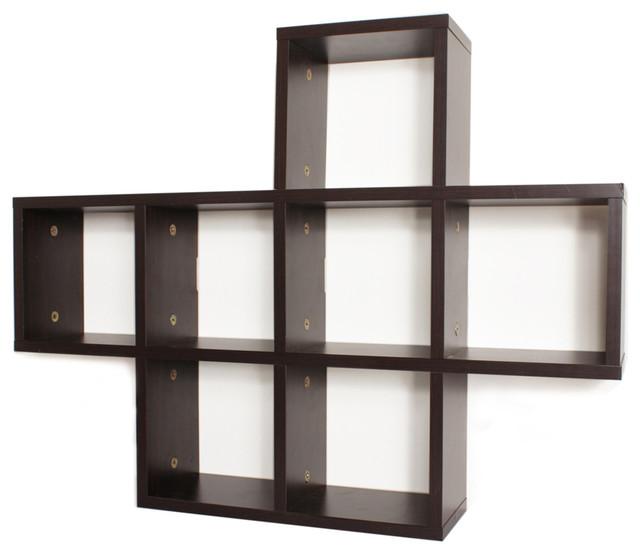 Cubby Laminated Walnut Veneer Shelving Unit - Contemporary - Display And Wall Shelves - by Danya B