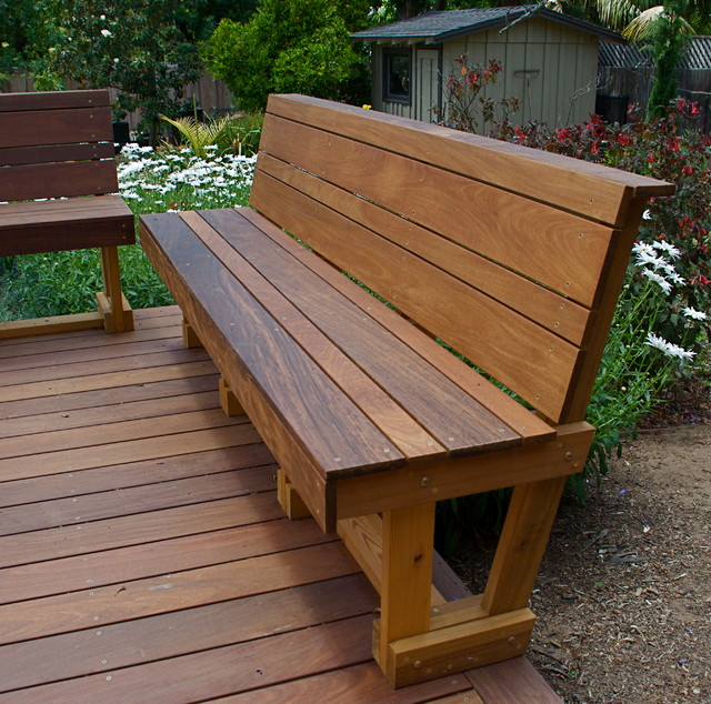 Ipe hardwood bench modern outdoor benches san diego for Outdoor plans and designs
