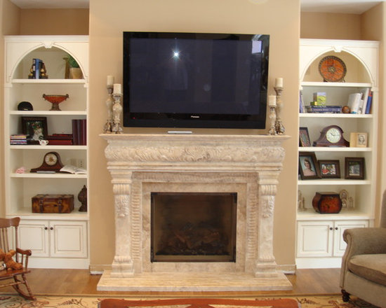 Installations - Custom hand carved travertine marble mantle