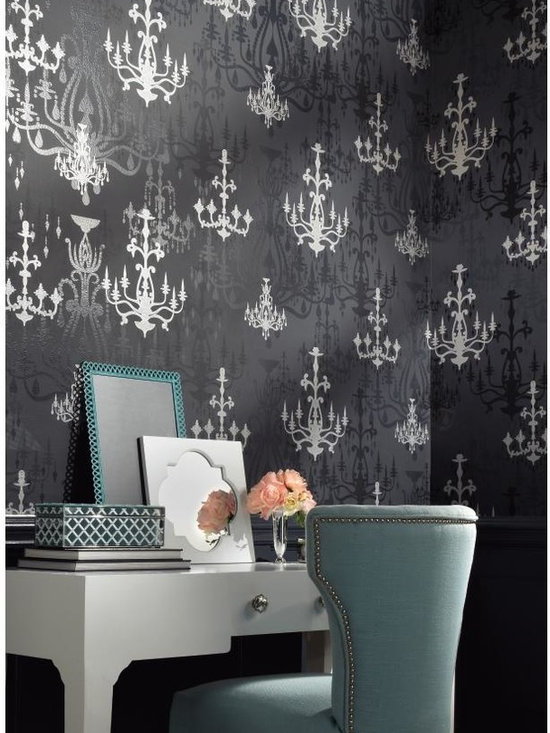 Luminary Wallpaper - WallpapHer - How romantic, how enchanting is this whimsical wallcovering in matte and satin finish with raised lustrous inks. The design portrays ornate chandeliers in multiple shapes and sizes, some bold, some glittering and some in shadow. The hues include blacks with silver, pinks with silver and more. Hang your chandeliers along with Dream Weaver or Primal to complete the magic mood.